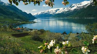 дома, горы, озеро