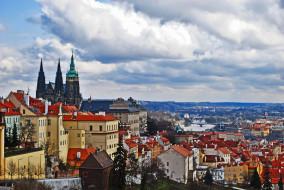 панорама, река, здания, город, Чехия, Прага