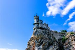 Ласточкино, Гнездо, Крым, небо, облака, скала