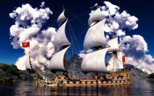 корабли, парусники, парусное, судно