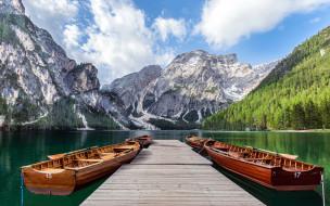 корабли, лодки,  шлюпки, озеро, горы