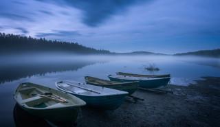 корабли, лодки,  шлюпки, туман, река
