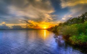 лето, закат, берег