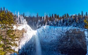 зима, замерзший, водопад