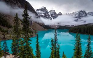 горы, озеро, отражение, туман