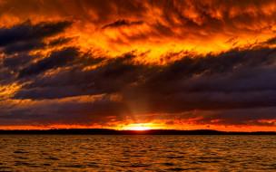закат, облака, море, вода