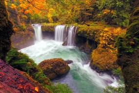 листопад, водопад, осень