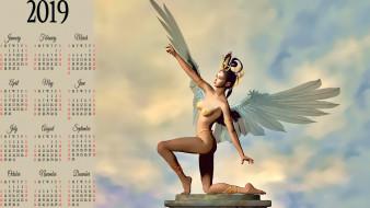 поза, женщина, девушка, крылья, ангел, calendar, 2019