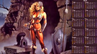 calendar, 2019, оружие, щит, девушка, воительница, пещера