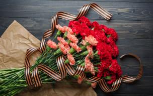 праздничные, день победы, георгиевская, лента, букет, цветы
