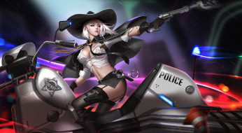 мотоцикл, оружие, девушка, шериф, шляпа