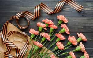 9 мая, георгиевская лента, букет, цветы