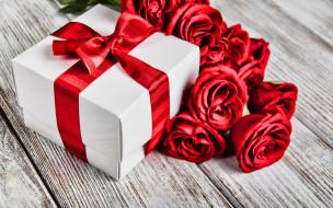 праздничные, подарки и коробочки, подарок, бант, розы