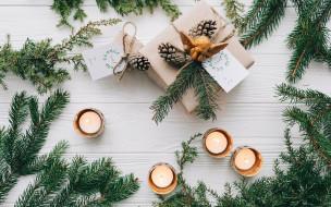праздничные, подарки и коробочки, ангел, подарок, шишки, свечи