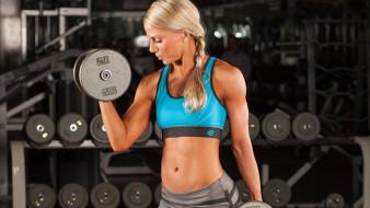 спортзал, гантели, блондинка, тренировка, спорт