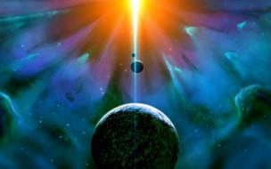 космос, арт, звезды, галактика, планета, вселенная
