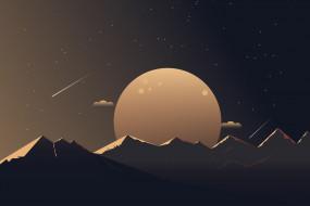 векторная графика, природа , nature, луна, горы