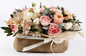 букет, розы, бант