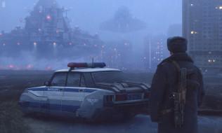 машина, город, НЛО, милиционер