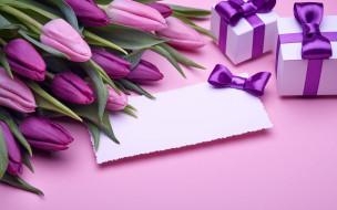 обои для рабочего стола 2880x1800 праздничные, подарки и коробочки, тюльпаны