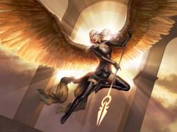 фон, девушка, копьё, крылья, униформа