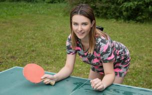 спорт, теннис, взгляд, девушка, фон