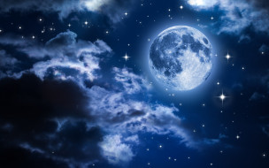 космос, луна, свет, ночь, ночной, небо, пейзаж, облака