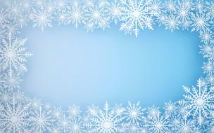 голубой, фон, снежинки