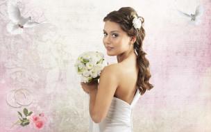 цветы, букет, голуби, кольца, шатенка, платье, невеста