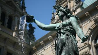 города, - фонтаны, вода, фонтан, германия, статуя