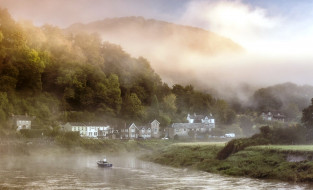 поселок, река, туман, горы, лодка