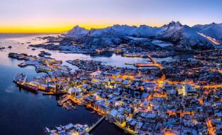 горы, море, снег, город, панорама, огни