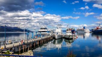 корабли, катера, транспортное, средство, облака, патагония, лодка, вода, на, открытом, воздухе, пирс, причал