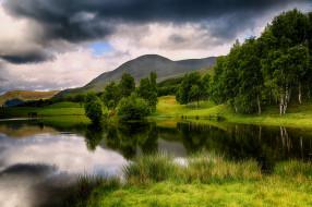 природа, пейзажи, hilda, murray, пейзаж, тучи, озеро, холмы, горы, облака