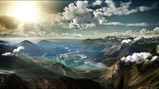природа, пейзажи, облака, озеро, горы