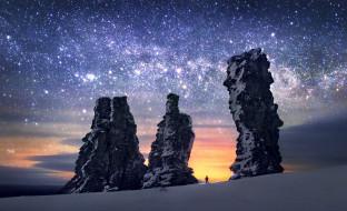 звезды, снег, скалы, небо, человек