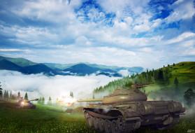 облака, небо, горы, поле, танки