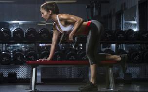 спорт, фитнес, девушка, фон, взгляд