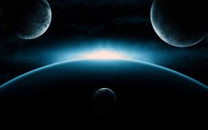космос, арт, галактика, звезды, планеты, вселенная