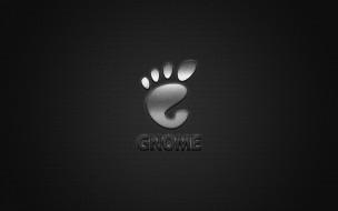 логотип, gnome, металлическая эмблема, блестящий, серебряный, текстура, углеродное волокно