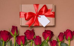 бант, подарок, розы, букет