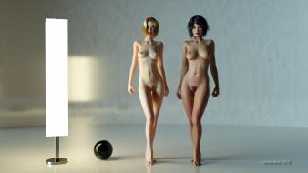 эро-графика, 3д-эротика, девушки, грудь, фон, взгляд