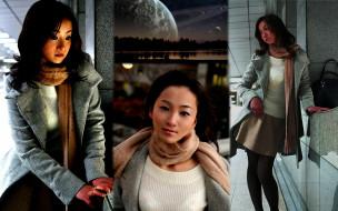 свитер, пальто, юбка, шарф, сумка