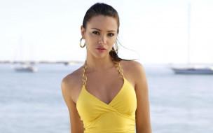 девушки, alina vacariu, море, топ, шатенка, модель