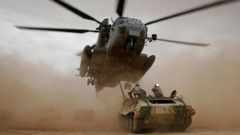 пыль, вертолет, транспортер