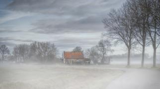 дом, дорога, туман