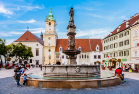братислава, города, братислава , словакия, город, площадь, здания, фонтан