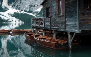 лодки, озеро, горы
