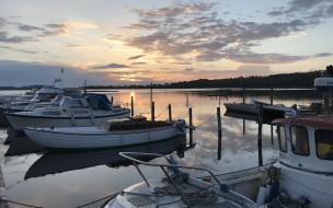 озеро, закат, яхта
