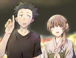 аниме, koe no katachi, форма, голоса